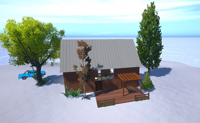 Winter Cabin Island Getaway Back