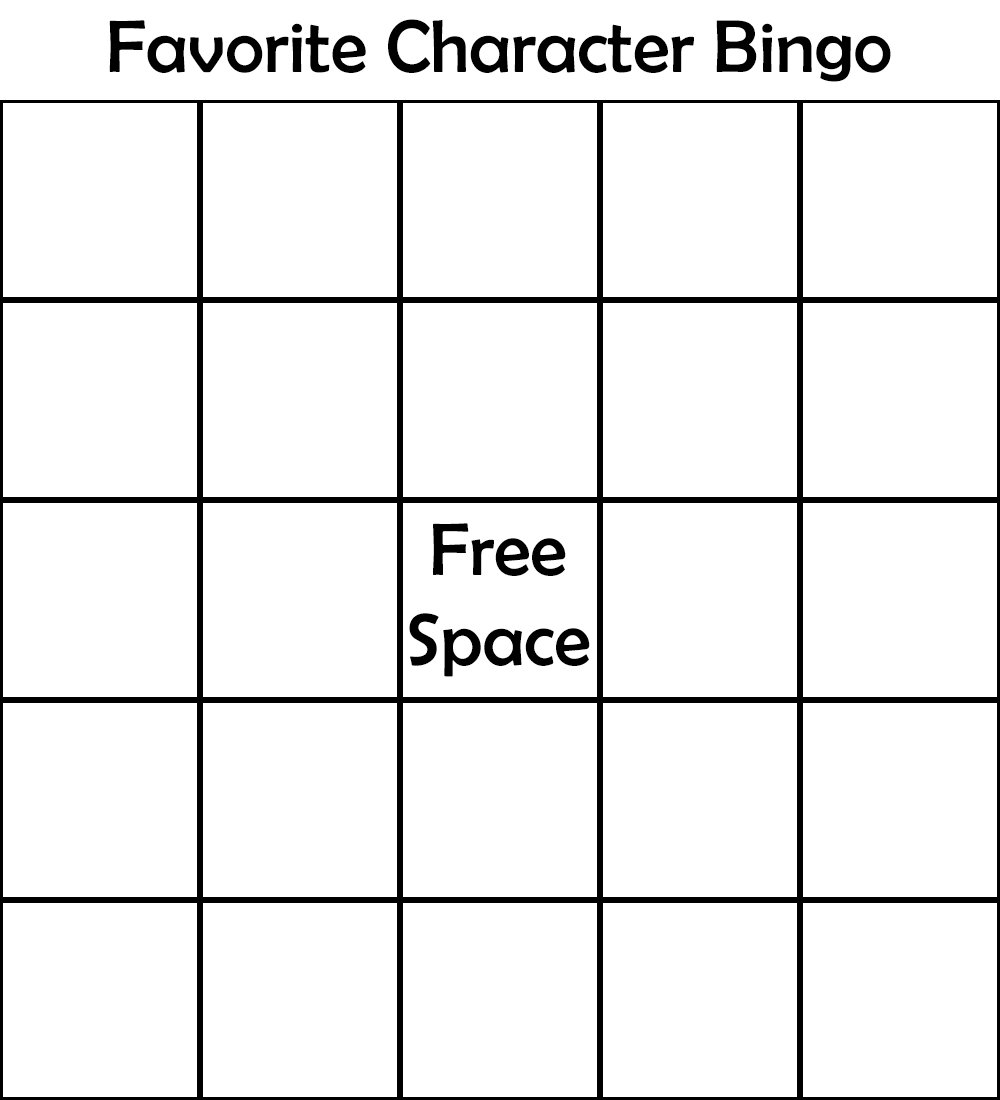 It's just a picture of Magic Character Bingo Template